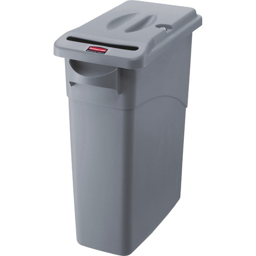 Slim Jim Confidential Document Receptacle with Lid, Rectangle, 23 gal, Light Gray | by Plexsupply