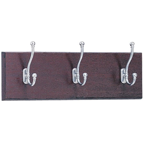 Wood Wall Rack, Three Double-Hooks, 18w x 3.25d x 6.75h, Mahogany   by Plexsupply