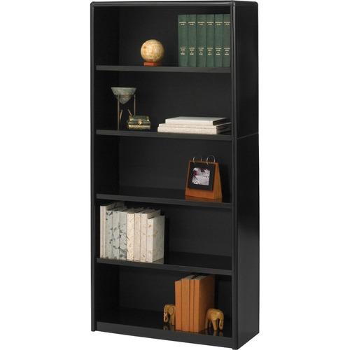 Value Mate Series Metal Bookcase, Five-Shelf, 31-3/4w x 13-1/2d x 67h, Black | by Plexsupply