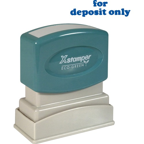 "For deposit only ink stamp, 1/2""x1-5/8"", blue ink, sold as 1 each"