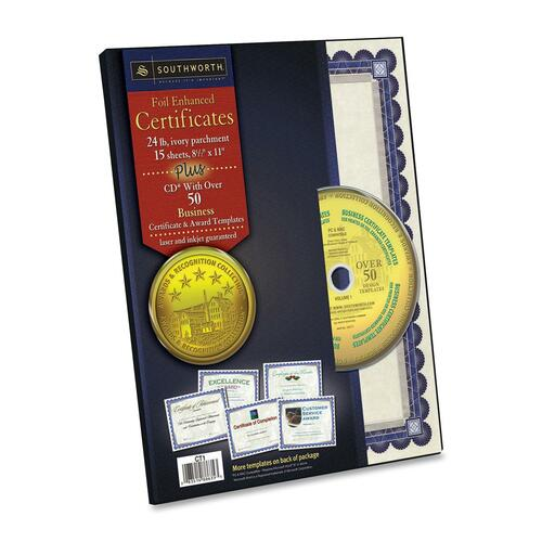 Southworth Blue/Silver Foil Parch Certificates