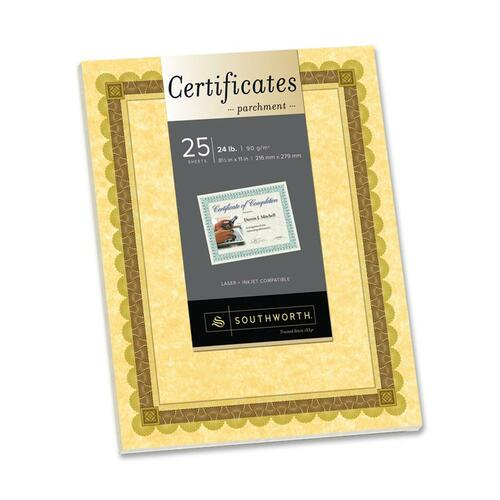 Southworth CT4R Brown/Gold Border Parchment Certificate
