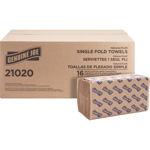 Genuine Joe Single-Fold Value Paper Towels | by Plexsupply