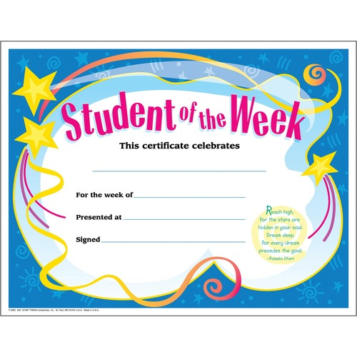 Trend Student of The Week Award Certificate | by Plexsupply