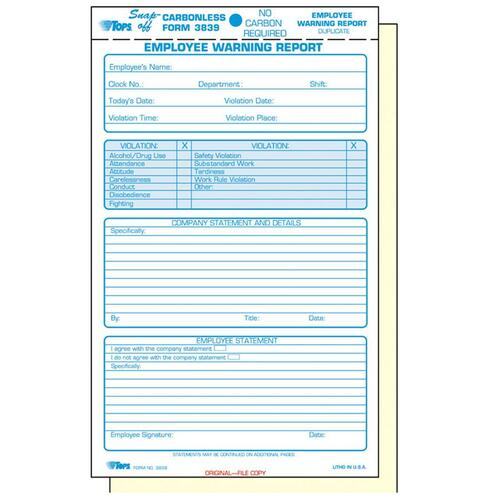 Tops Carbonless Employee'S Warning Report Form --Top3839