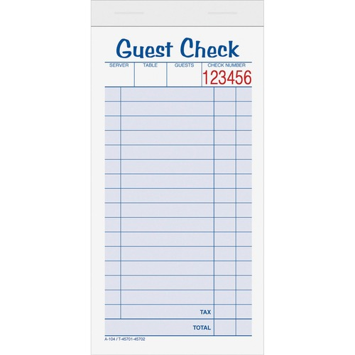 Tops 2-part Carbonless Guest Check Books | by Plexsupply