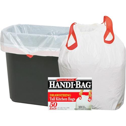 """Drawstring trash bags, 13 gal., .69mil, 24""""x27"""", 50/bx, we, sold as 1 box, 200 bag per box"""