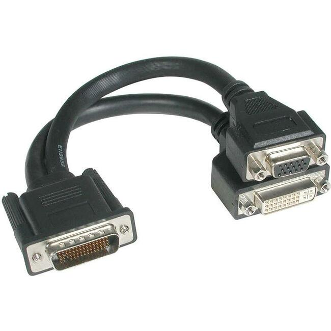 C2G 9in One LFH-59 (DMS-59) Male to One DVI-I Female and One HD15 VGA Female Cable