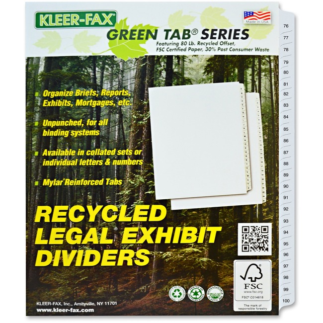 Kleer-Fax Legal 90000 Series Printed 76 - 100 Exhibit Index Divider