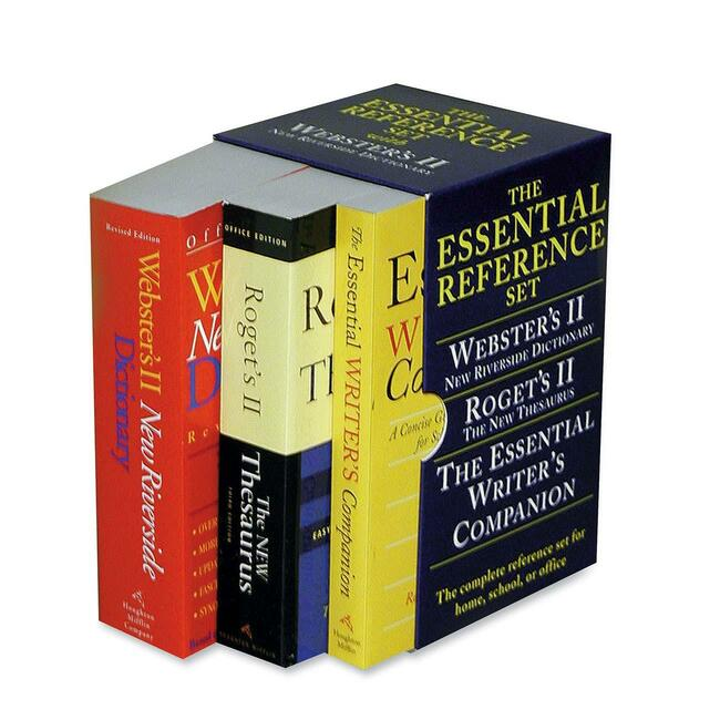 Houghton Mifflin Dictionary / Thesaurus / Writer's Companion Essential Paperback Desk Reference Set Dictionary - English