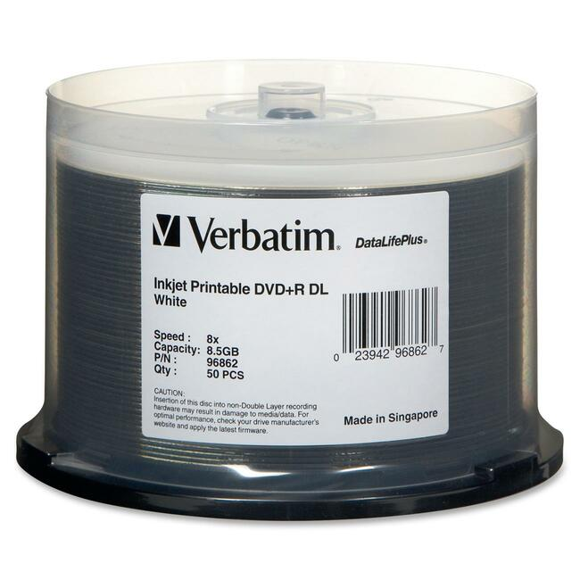 Verbatim 96862 DVD Recordable Media - DVD+R DL - 8x - 8.50 GB - 50 Pack Spindle