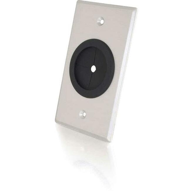 C2G SINGLE GANG 1.5IN GROMMET BRUSHED ALUMINUM WALL PLATE