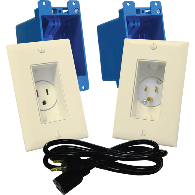 Midlite 1-Gang In-wall Power Solution Kit - Lt. Almond