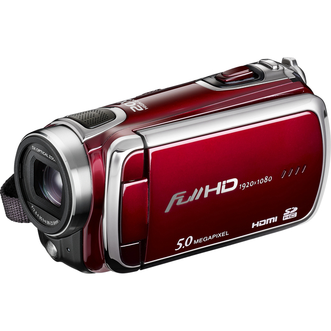 "DXG Pro Gear DXG-5F0VR Digital Camcorder - 3"" - Touchscreen LCD - CMOS - Full HD - Red"