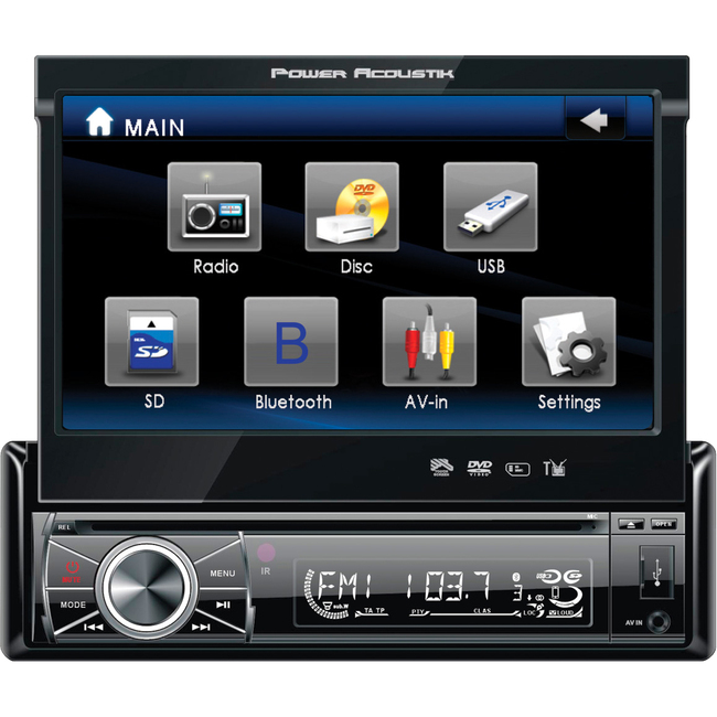"Power Acoustik PTID-8920B Car DVD Player - 7"" Touchscreen LCD - 68 W RMS - Single DIN"