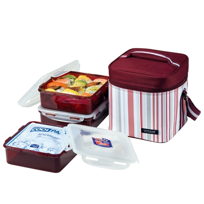 Lock&Lock Square Lunch Box 3-Piece Set with Insulated Violet Stripe Bag
