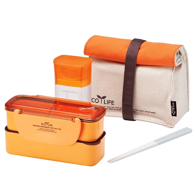 Lock&Lock Slim Lunch Box with Bag & Water Bottle, Orange