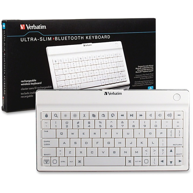VERBATIM - MOBILITY BLUETOOTH WL ULTRA-SLIM KEYBOARD WHITE
