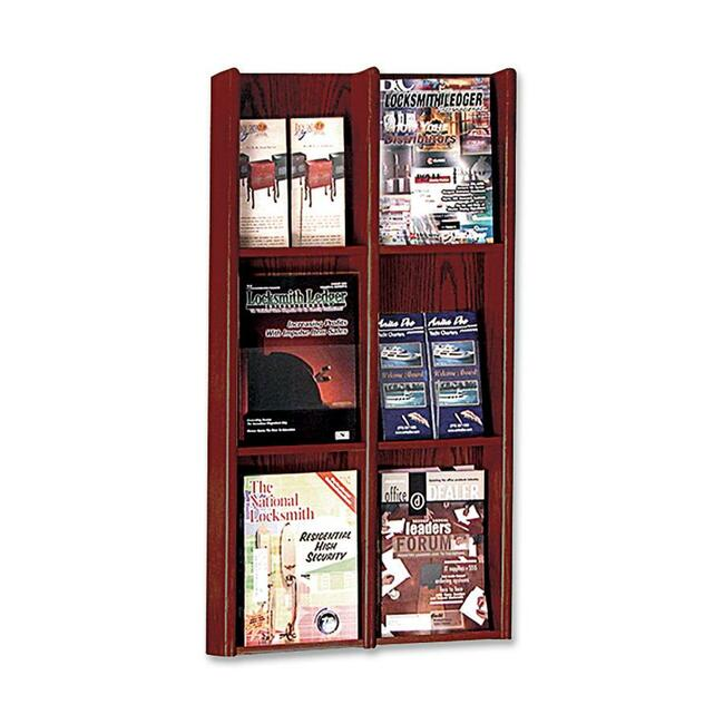 "Buddy 0642 Literature Rack - 36"" x 20.8"" x 3"" - 6 Pocket(s) - Veneer Wood -"