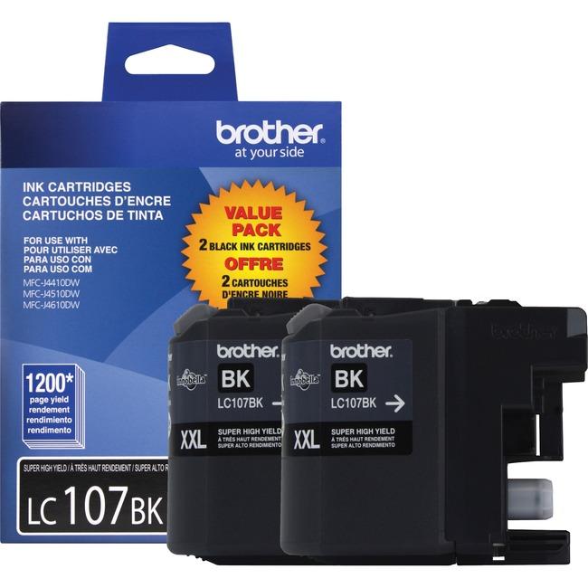 BROTHER - SUPPLIES 2PK LC1072PKS BLACK INK CART F/ MFC-J4410DW/J4510DW/J4610DW