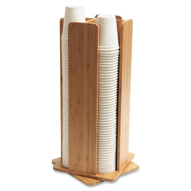 BAU10615 Baumgartens Bamboo Revolving Cup/Lid Dispenser photo