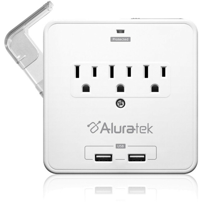 ALURATEK MINI SURGE 3OUT BLOCK W/ 2XUSB BUILT-IN SMARTPHONE TRAYS
