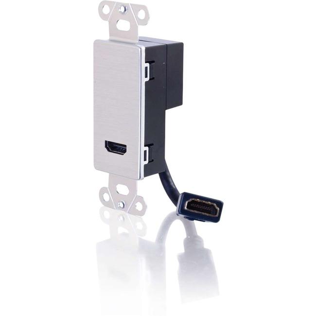 C2G HDMI Pass Through Decora Style Wall Plate | Aluminum
