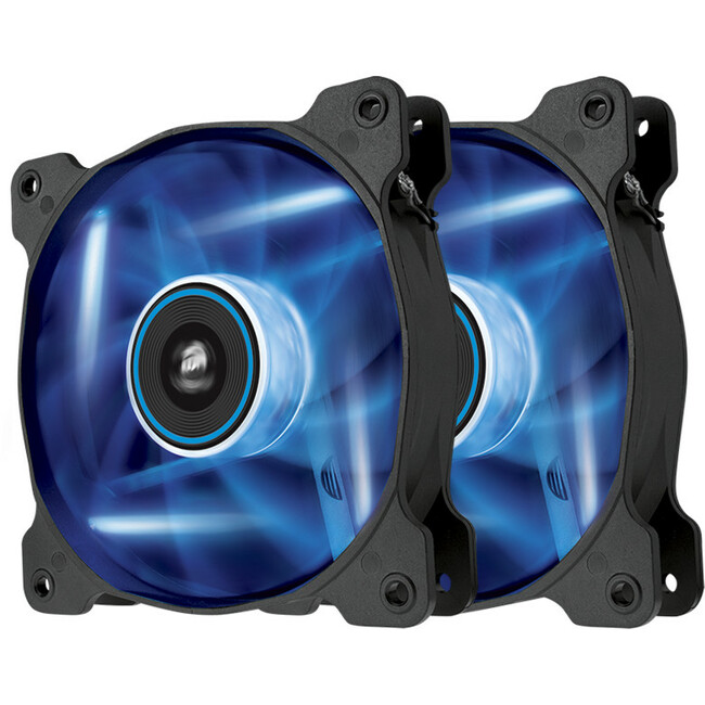 Corsair Air Series AF120 LED Blue Quiet Edition 120 mm x 25 mm, 3 pin, Twin Pack (CO-9050016-BLED)