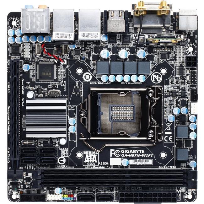 Gigabyte Gigabyte Ultra Durable GA-H97N-WIFI Desktop Motherboard - Intel H97 Express Chipset - Socket H3 LGA-1150 - Gigabyte - ...