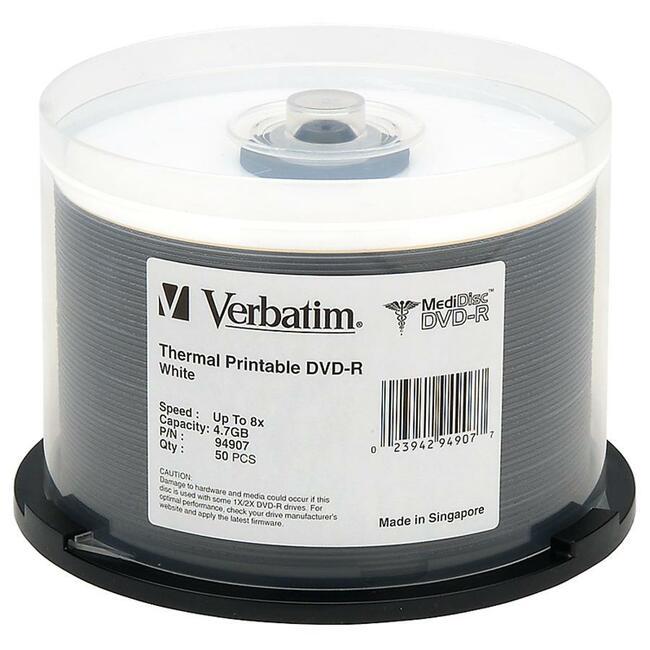 VERBATIM - AMERICAS LLC 50PK DVD-R 8X 4.7GB MEDIDISC WHITE THERMAL PRINTABLE SPINDLE