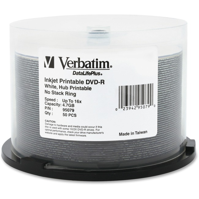 Verbatim DataLifePlus 95079 DVD Recordable Media - DVD-R - 16x - 4.70 GB - 50 Pack Spindle