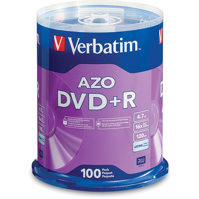 Verbatim 95098 DVD Recordable Media - DVD+R - 16x - 4.70 GB - 100 Pack Spindle