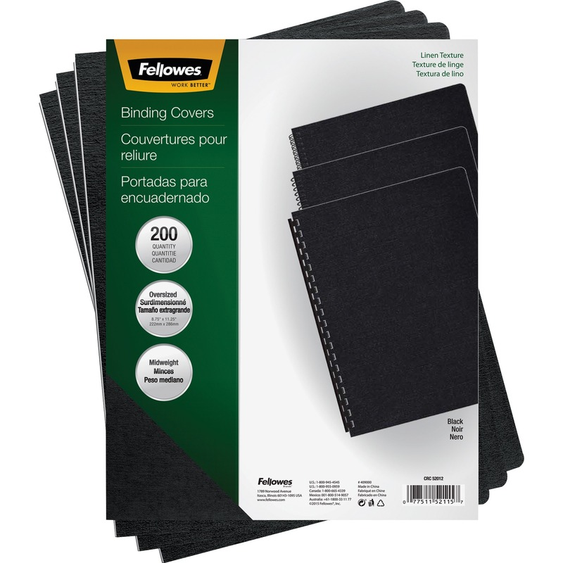 Fellowes Linen Presentation Covers - Oversize, Black, 200 Pack