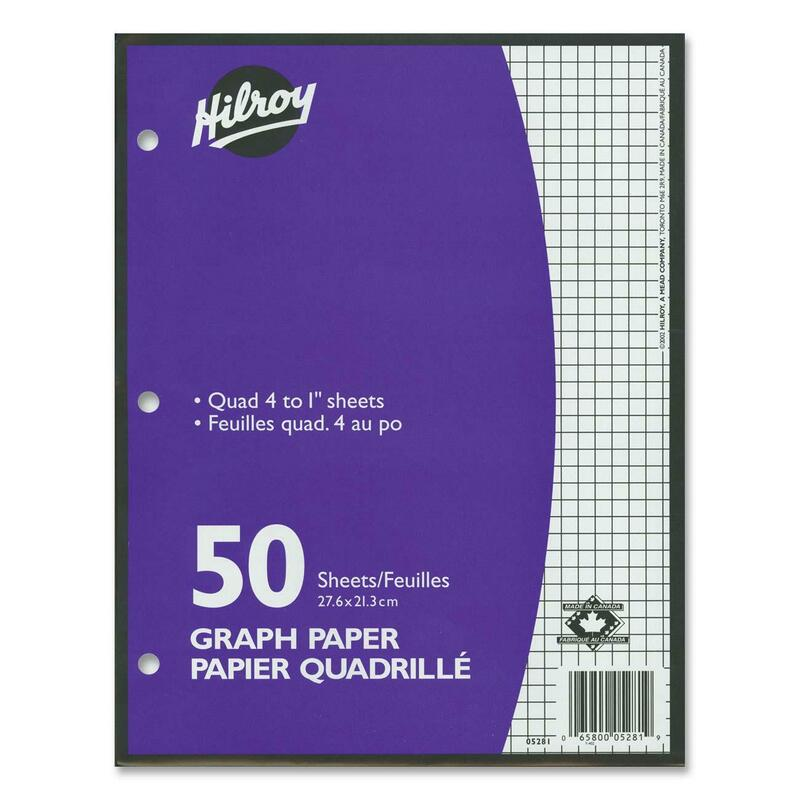"""Hilroy 4:1"""" Two-Sided Quad Ruled Filler Paper"""