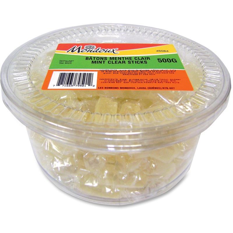 Mondoux Gourmet Clear Mint Sticks Hard Candy
