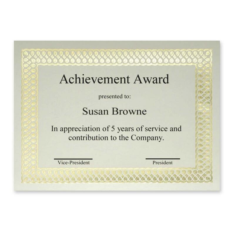First Base Classic Gold Foil/Linen Certificate