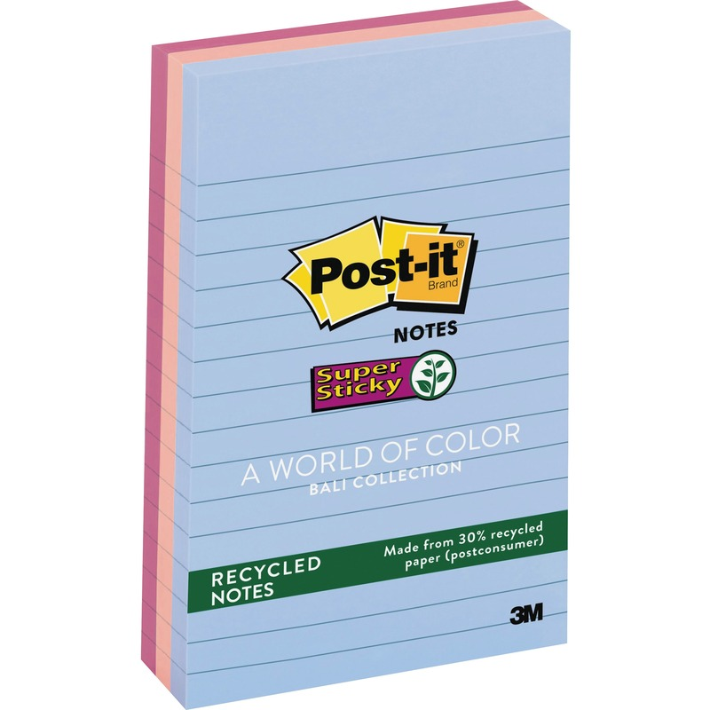 Post-it Super Sticky Lined Recycled Notes, Bali Color Collection