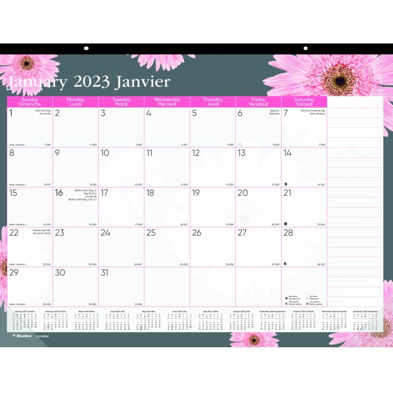 Blueline Pink Ribbon Collection Desk Pad Calendar