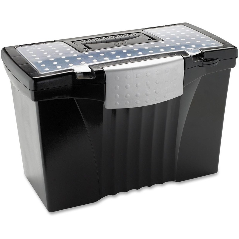 Storex File Box with Supply Compartment