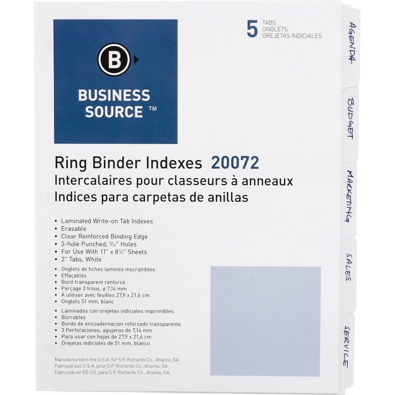 Business Source 3-Ring Plain Index Divider