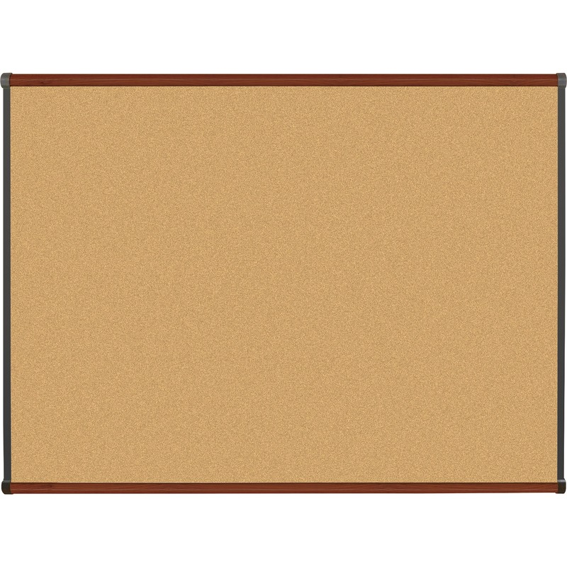 Lorell Mahogany Finish Natural Cork Board