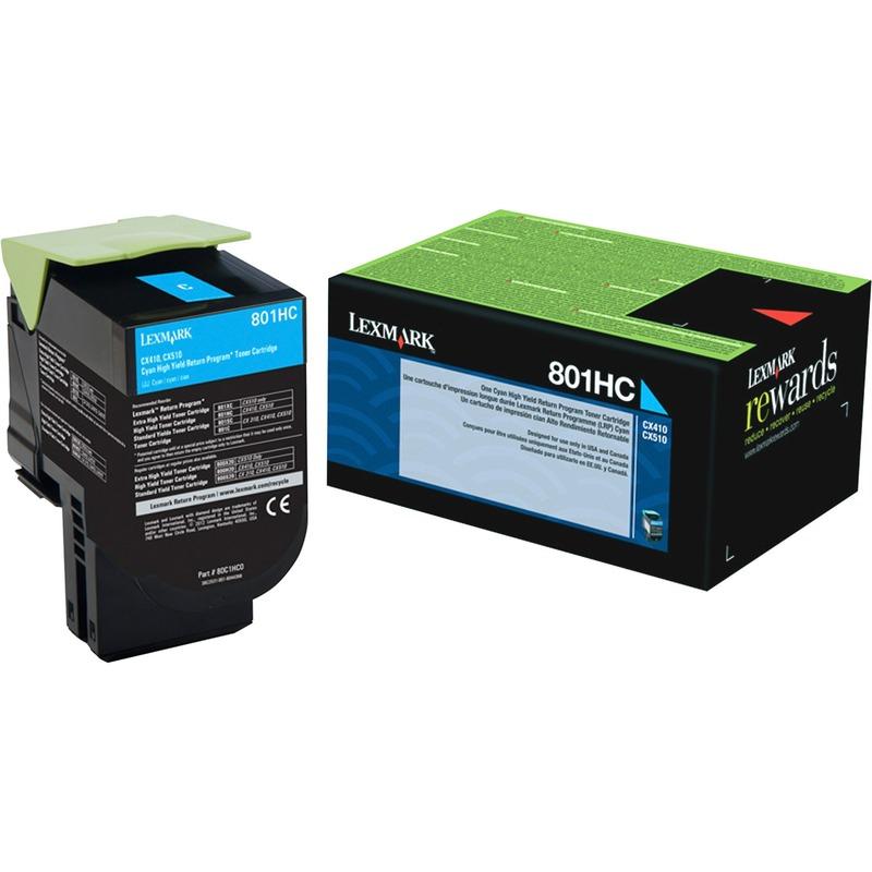 Lexmark 801HC Cyan High Yield Return Program Toner Cartridge