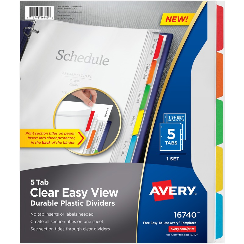 Avery Clear View Plastic Dividers