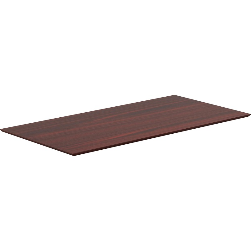 Lorell Electric Height-Adjustable Mahogany Knife Edge Tabletop