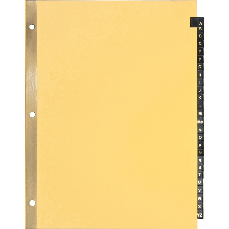 Business Source A-Z Black Leather Tab Index Dividers