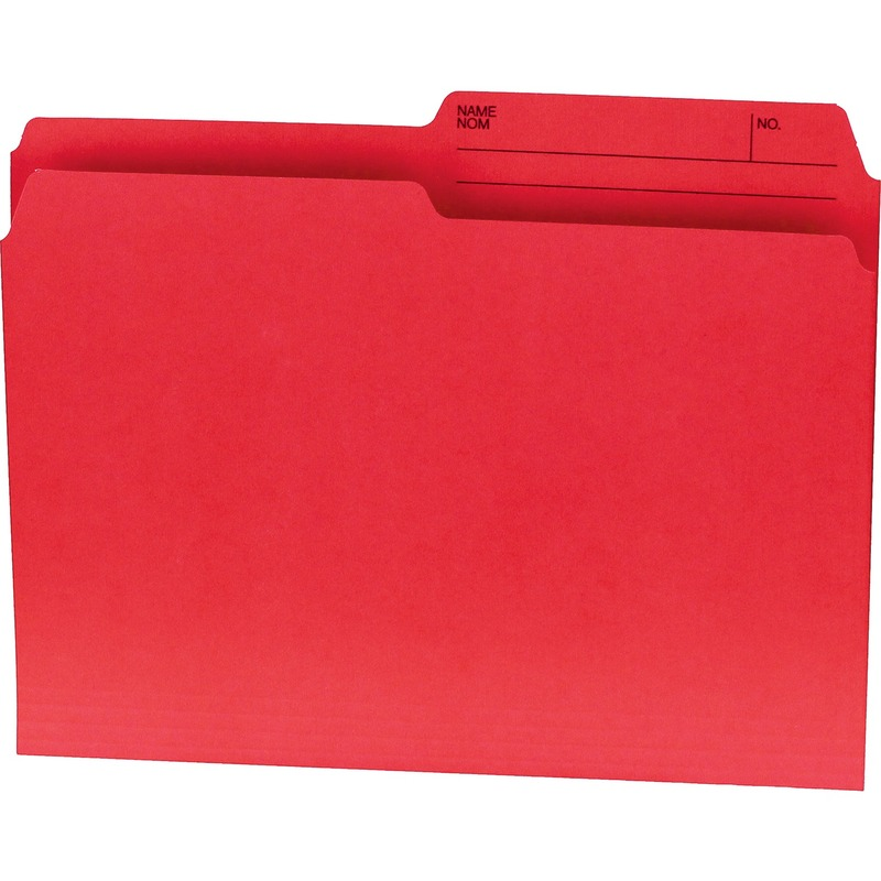 Offix 1/2 Tab Cut Letter Top Tab File Folder in Red - 100 / Box