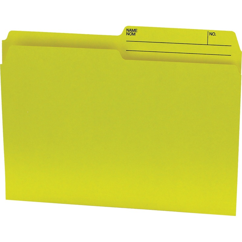 Offix 1/2 Tab Cut Letter Top Tab File Folder in Yellow - 100 / Box