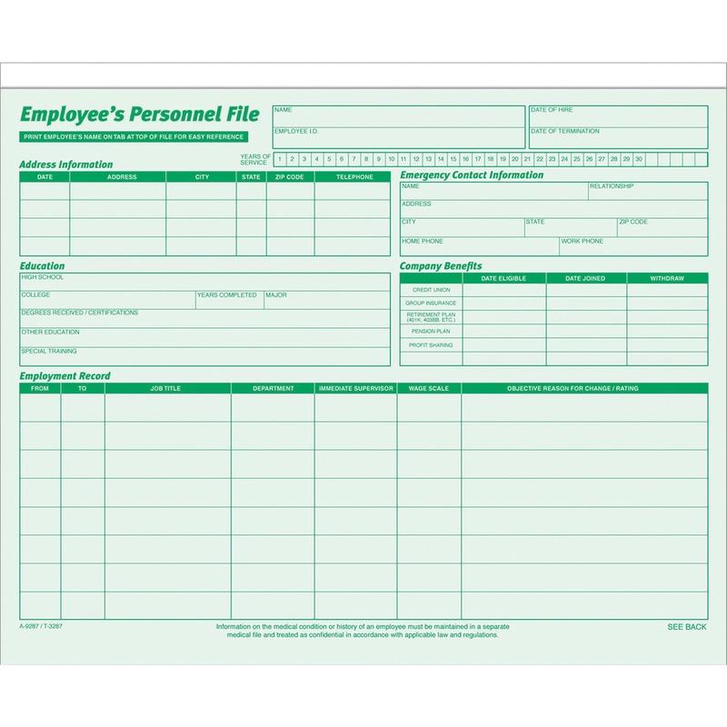 TOPS Employee Record Folder