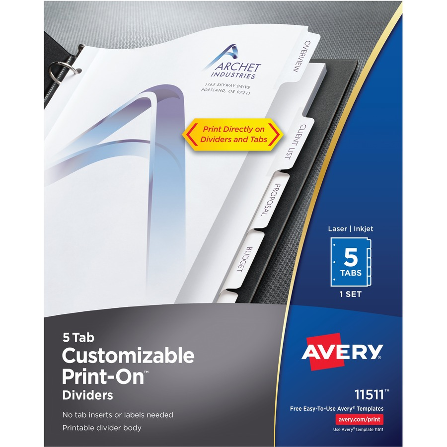 Avery Customizable Print On Dividers Urban Office Products