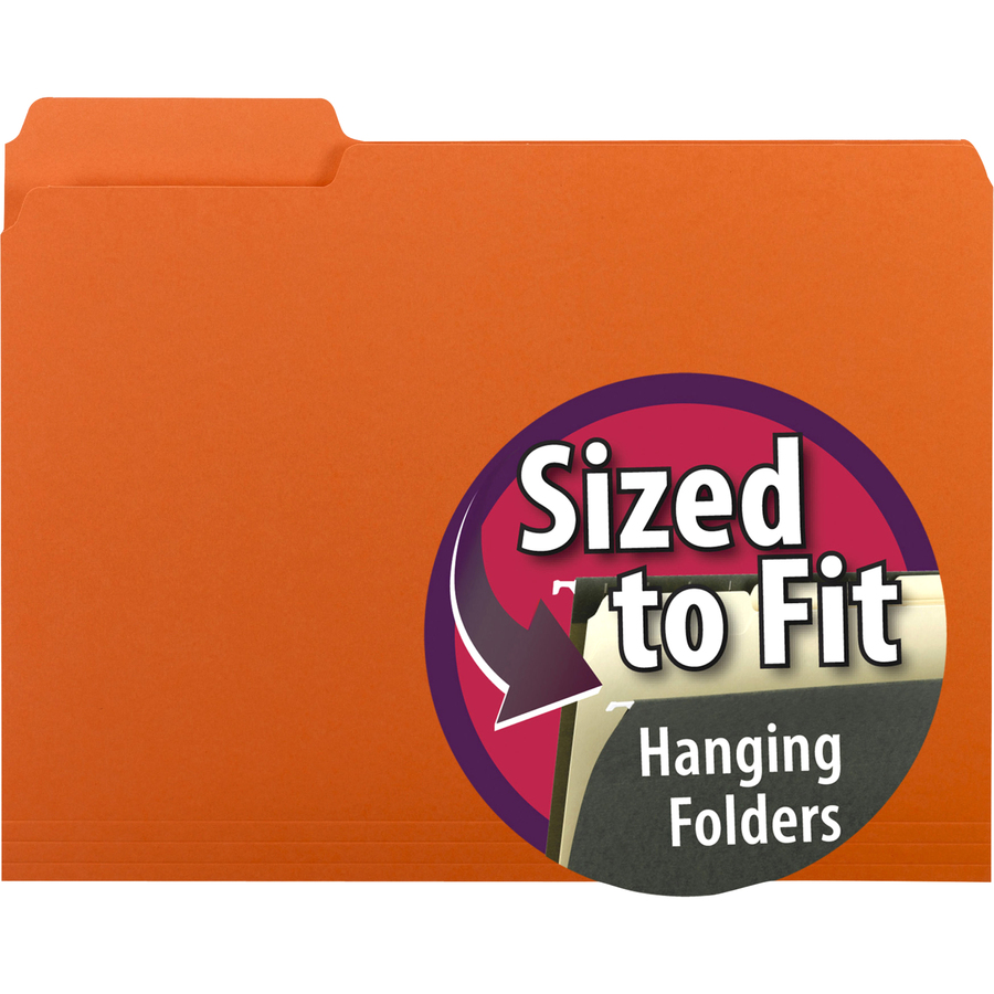 Smead Interior File Folder, 1/3-Cut Tab, Letter Size, Orange, 100 per Box (10259)